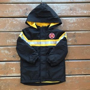3/$30 - Black & Yellow Firefighter Lined Jacket - Size 5